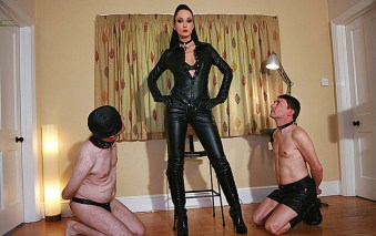 Awesome Fetish Liza in Black Leather Trains and Degrades Two male slaves