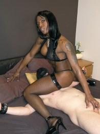 Beautiful Black Domina in Lingerie Gets Cum on Her Shoes in the Bedroom