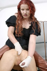 Cruel Redhead Mistress Humiliates and Fucks Her slave with a Strap On