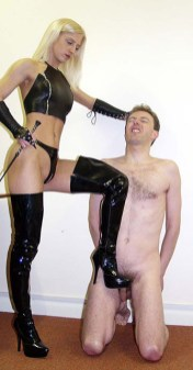 Cruel Young Domina Trashes and Disciplines a naked slave in the Office