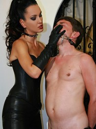 Hot Leather Mistress Liza Plays with a male slave