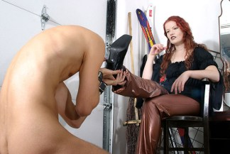 Sexy Redhead Mistress Trashes, Slaps and Degrades a helpless slave