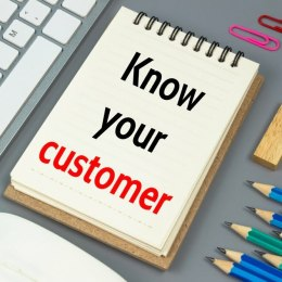 Know your customer, Text message on white paper