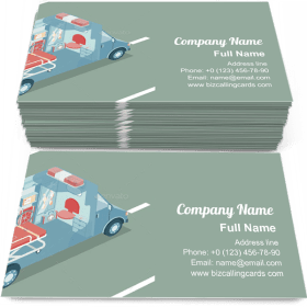 Ambulance automibile isometric Business Card Template