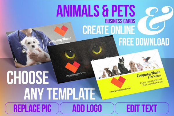 Business Card Templates For Animals & Pets Free Download