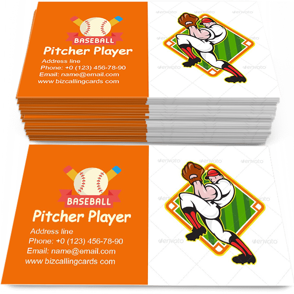 Sample of Baseball Pitcher Player calling card design for advertisements marketing ideas and promote pitch training branding identity