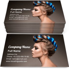 Beautiful girl with blue hair Business Card Template