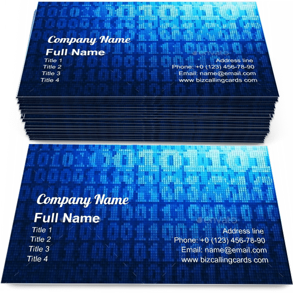 Sample of Binary Code Business calling card design for advertisements marketing ideas and promote software service branding identity
