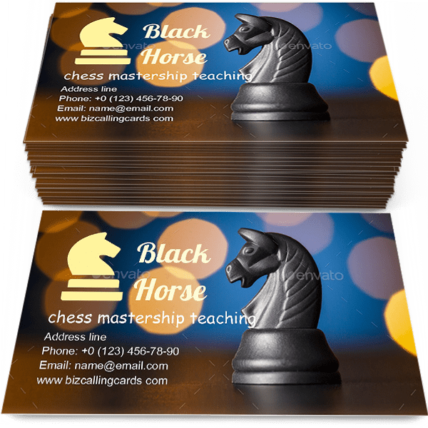 Sample of Black horse chess calling card design for advertisements marketing ideas and promote chess mastership teaching branding identity