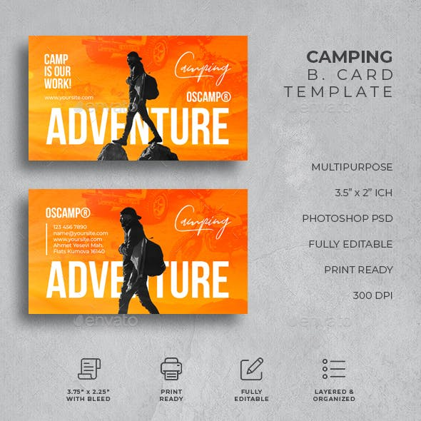 Camping adventure Business Card Free Download