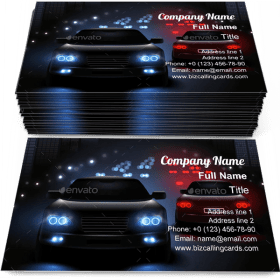 Car LED Lights Business Card Template