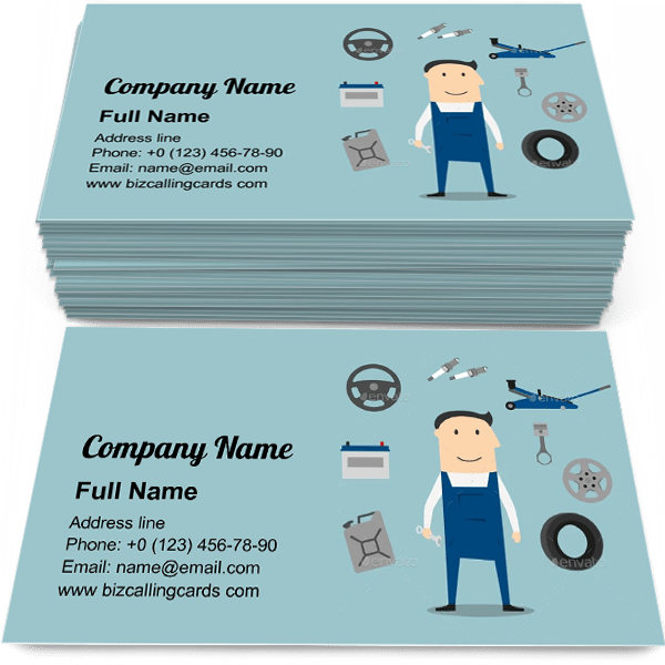 Sample of Car Mechanic Profession calling card design for advertisements marketing ideas and promote automobile mastership branding identity