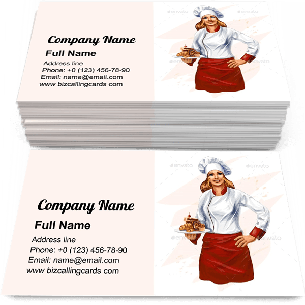 Sample of Chef Baking a Cake calling card design for advertisements marketing ideas and promote baker activities branding identity