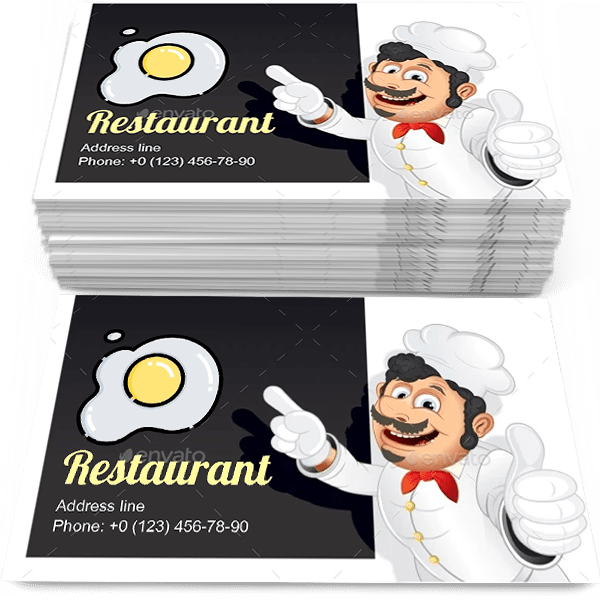 Sample of Chef with Blank calling card design for advertisements marketing ideas and promote restaurant working branding identity
