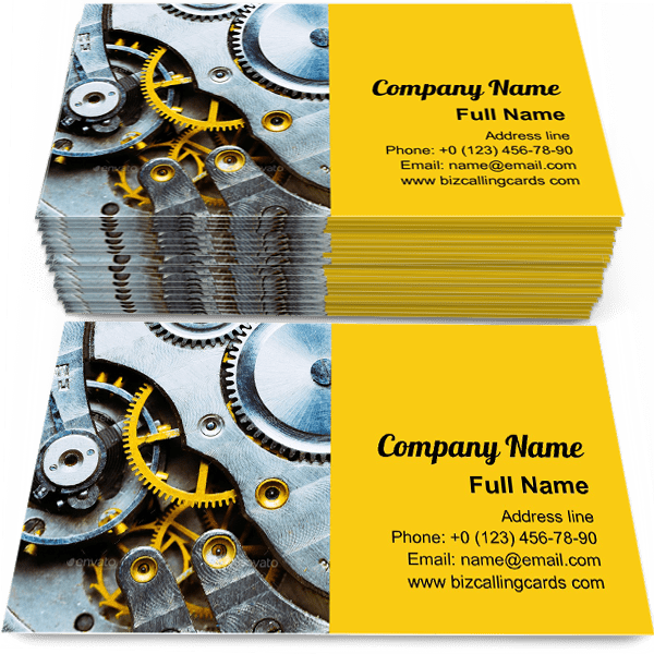 Sample of Clock Watch Mechanism calling card design for advertisements marketing ideas and promote mechanics watch branding identity