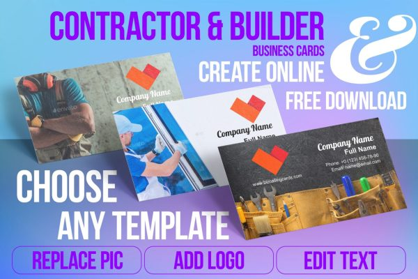 Business Card Templates For Contractor & Builders Free Download