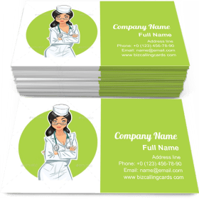 Doctor Girl with Stethoscope Business Card Template