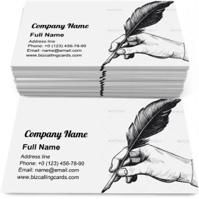 Drawing of hand Business Card Template
