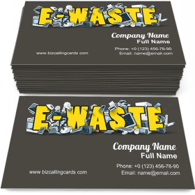 E-Waste Sign with Electronic Devices Business Card Template