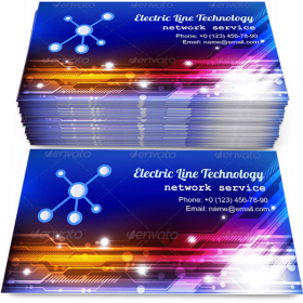 Electric Line Technology Business Card Template