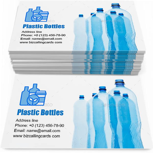 Sample of Empty plastic bottles calling card design for advertisements marketing ideas and promote plastic bottles merchandise branding identity