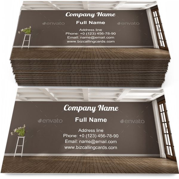 Sample of Empty brown room calling card design for advertisements marketing ideas and promote living room branding identity
