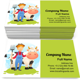 Farmer with Cow Business Card Template