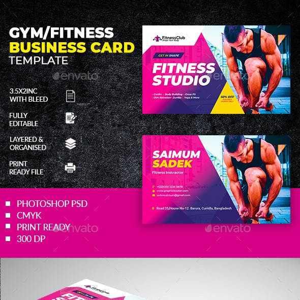 Fitness studio Business Card Template Free Download