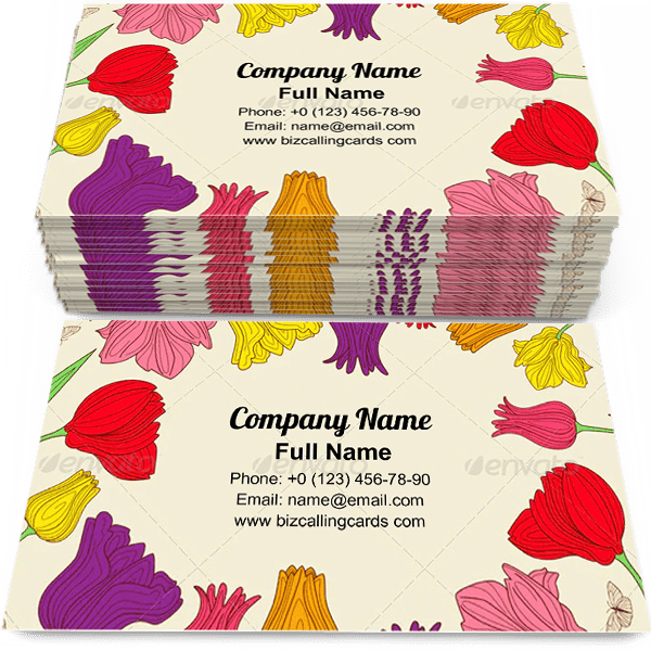 Sample of Floral with colorful Tulips calling card design for advertisements marketing ideas and promote tulip shop branding identity