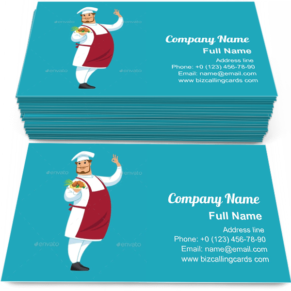 Sample of Funny chef character calling card design for advertisements marketing ideas and promote dinner delivery branding identity