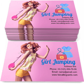 Girl jumping fooling Business Card Template