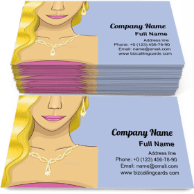 Girl with Gold Jewelry Business Card Template