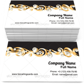 Gold Jewelry Frame Business Card Template