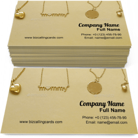 Gold chains necklaces Business Card Template