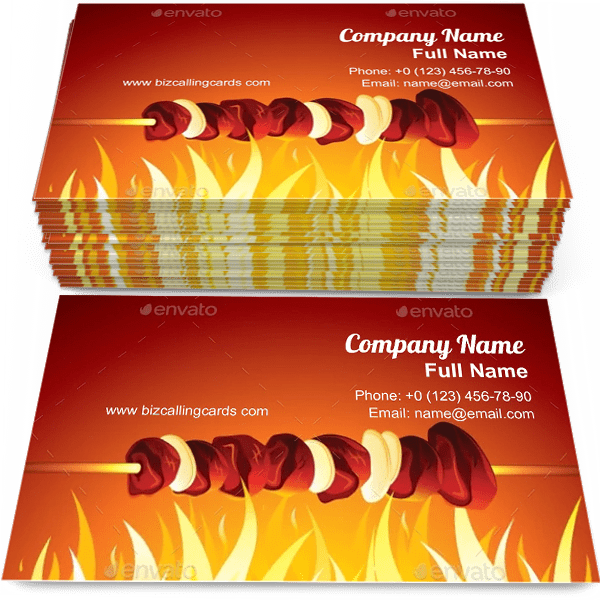 Sample of Grill Shish Kebab calling card design for advertisements marketing ideas and promote barbecue store branding identity