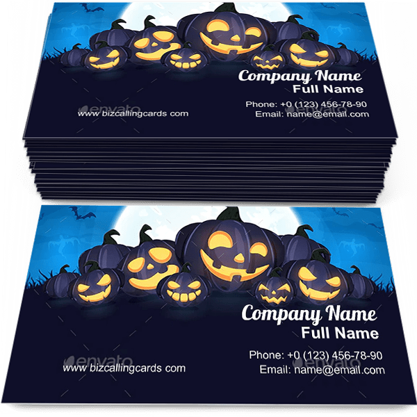 Sample of Halloween Pumpkins calling card design for advertisements marketing ideas and promote Halloween branding identity