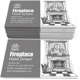 Hand Drawn Fireplace Business Card Template