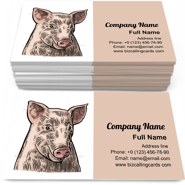 Sample of Hand drawn Pig head calling card design for advertisements marketing ideas and promote piglet trade branding identity