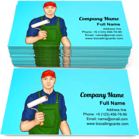 Handyman with paint brush Business Card Template