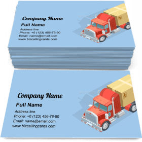 Heavy Truck Isometric Business Card Template