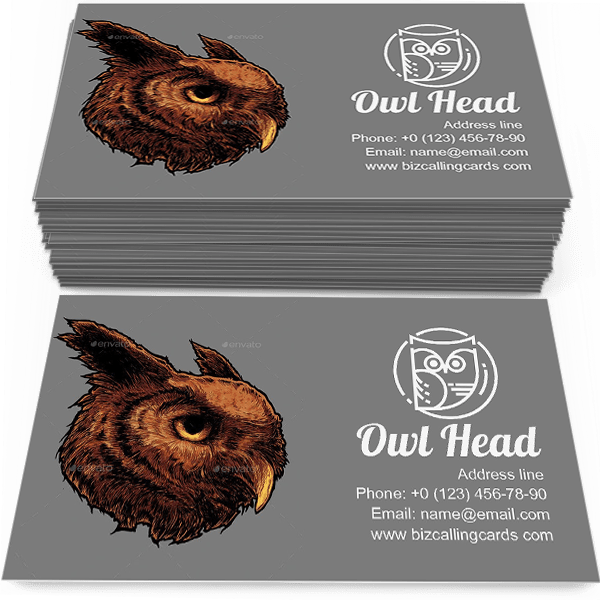 Sample of Illustration of owl head calling card design for advertisements marketing ideas and promote ornitology practice branding identity