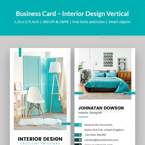 Interior Design Vertical Business Card template Free Download