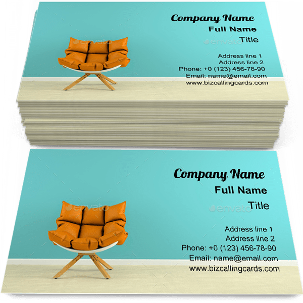 Sample of Interior with armchair calling card design for advertisements marketing ideas and promote upholstery branding identity