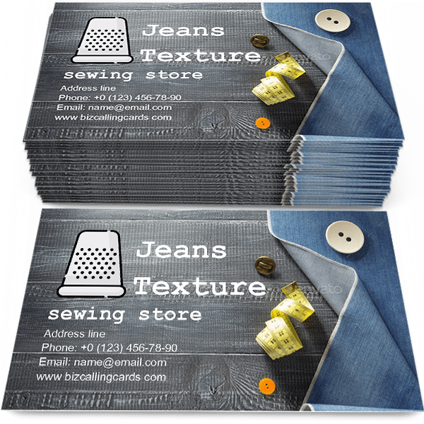 Sample of Jeans texture on wood calling card design for advertisements marketing ideas and promote sewing store branding identity