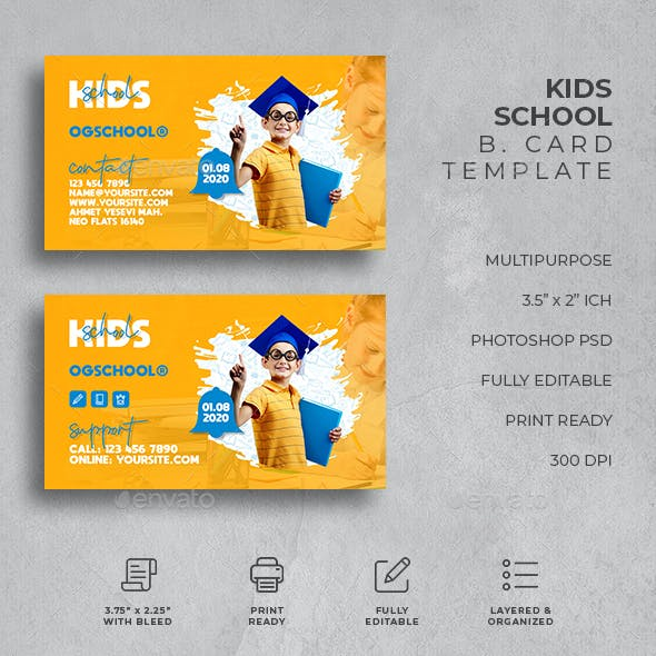 Kids School Business Card Free Download