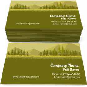 Landscape with Fir Trees Business Card Template
