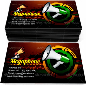Loudspeaker megaphone Business Card Template