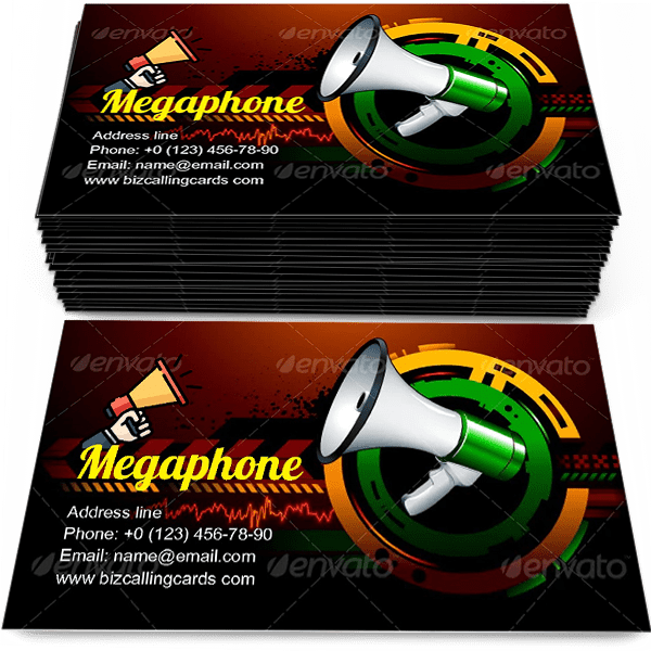 Sample of Loudspeaker megaphone calling card design for advertisements marketing ideas and promote communication  service branding identity