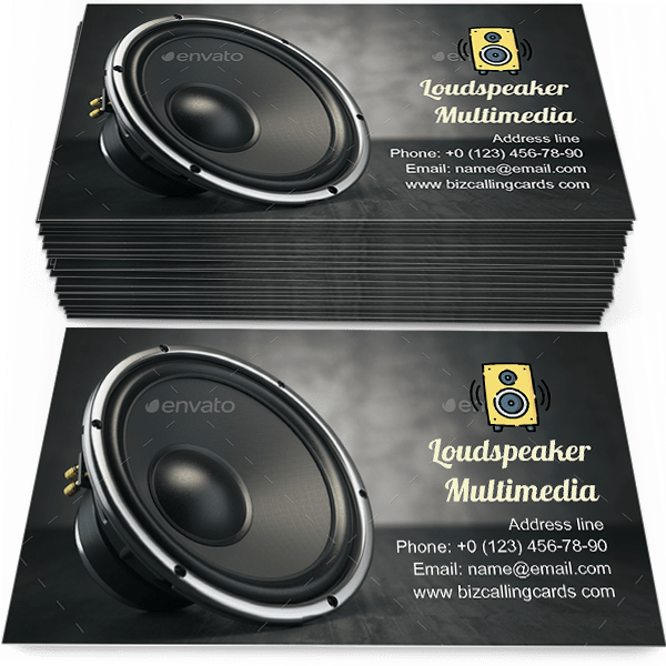 Sample of Loudspeaker Multimedia calling card design for advertisements marketing ideas and promote entertainment activities branding identity