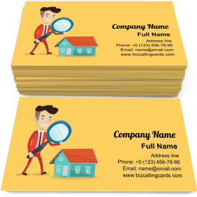 Man Looking For House Business Card Template